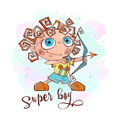 Un ragazzo con un arco e una freccia. Super ragazzo. Vettore