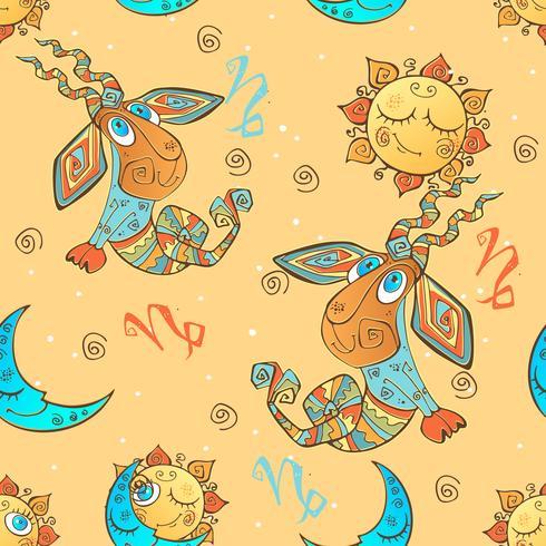 A fun seamless pattern for kids. Zodiac sign Capricorn. Vector