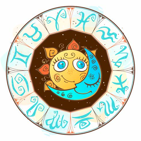 Zodiac. Astrological symbol. Horoscope. The sun and the moon. Astrology. Mystical. Vector