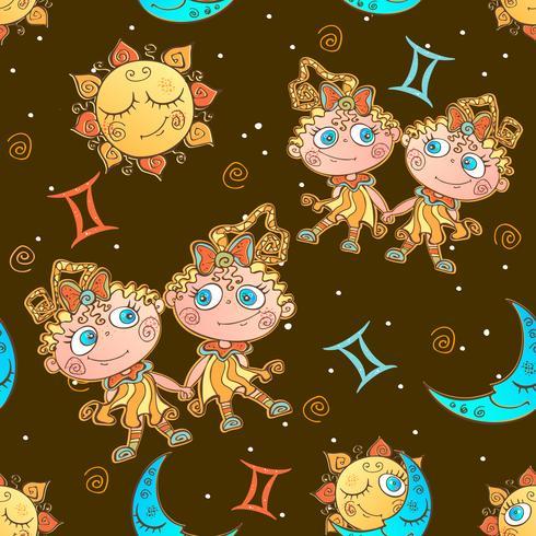 Un divertido patrón sin costuras para niños. Signo del zodiaco Géminis. Vector