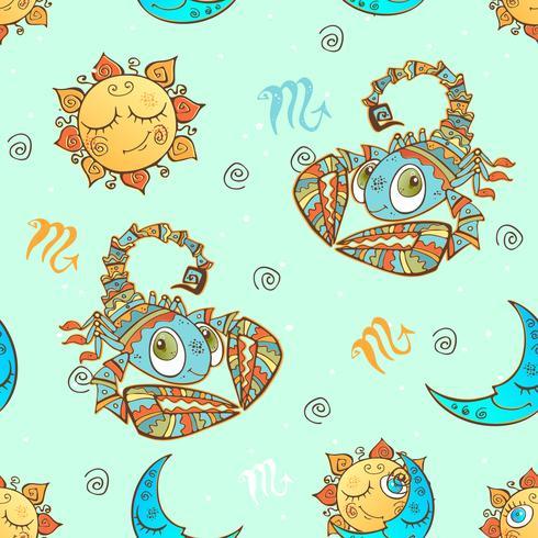 Een leuk naadloos patroon voor kinderen. Sterrenbeeld Schorpioen. Vector.