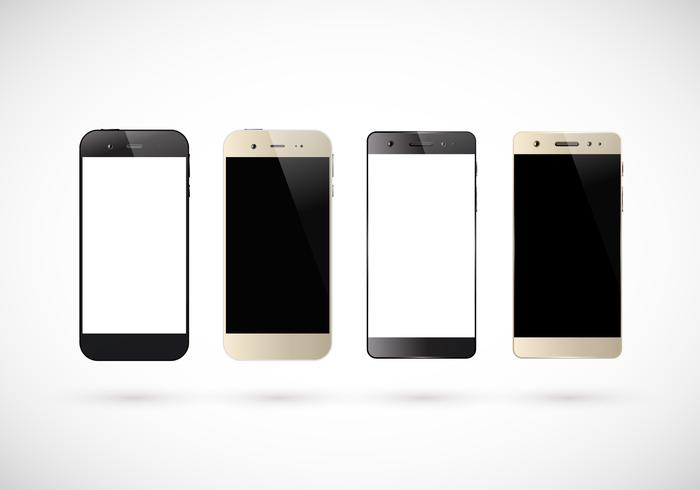 Four black and white smartphones vector