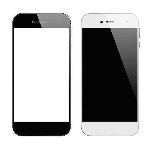 Smartphones negro blanco vector