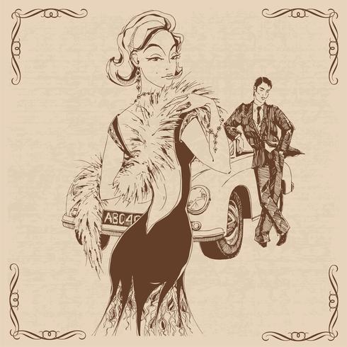 Elegante dama y caballero en estilo retro. Coche. Gráficos. Vector. vector