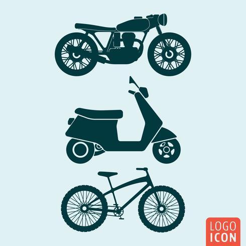 Icona della bicicletta del motorino del motociclo isolata