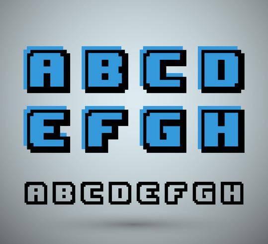 Alfabeto de fuente de pixel vector