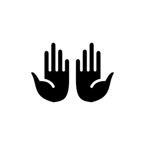 ícone de glifo muçulmano orando palmas. ramadan kareem