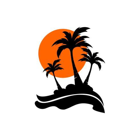 ícone de logotipo palmeira coco
