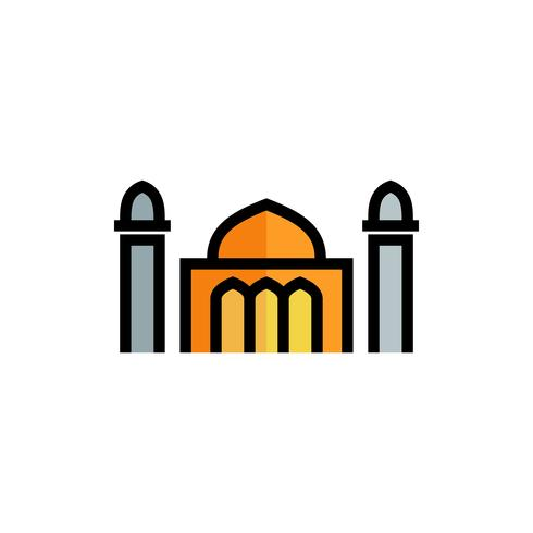 mosque fill outline icon. ramadan kareem