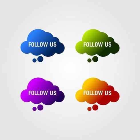 Seguici testo modello di design moderno. Tonalità di colori blu, verdi, viola e arancioni.
