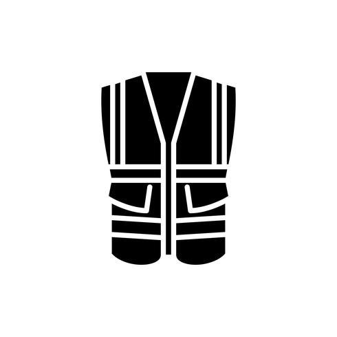 Chaleco de seguridad con icono de glifo de bolsillo. vector