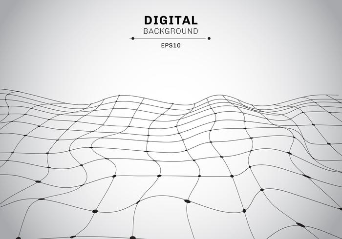 Abstract digital technology black wireframe polygonal landscape white background. Connected lines and dots futuristic.