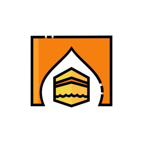 conception d'icône de remplissage kaaba vecteur