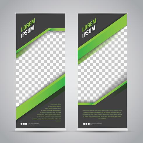 Modello di Banner Roll Up nero verde Mock Up