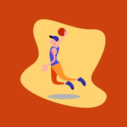 Vektor illustration av en pojke basket spelare med en blå hatt, blå skjorta och apelsinbyxor.