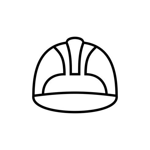 icono de contorno del casco de seguridad laboral vector