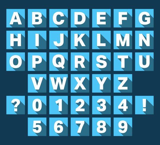 Alfabeto fuente diseño plano