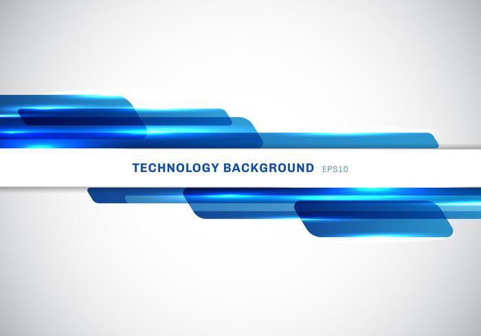 Abstrakt header blå glänsande geometriska former överlappande rörlig teknik futuristisk stil presentation på vit bakgrund med kopia utrymme.