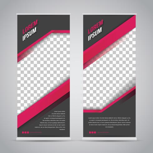 Pink Black Roll Up Banner Template Mock Up vector
