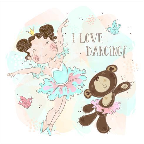 Little ballerina girl dancing with a bear. I love dancing. Inscription. Vector