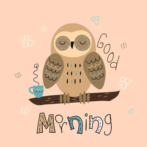 Eine Schläfrige Eule In Einem Niedlichen Stil Guten Morgen