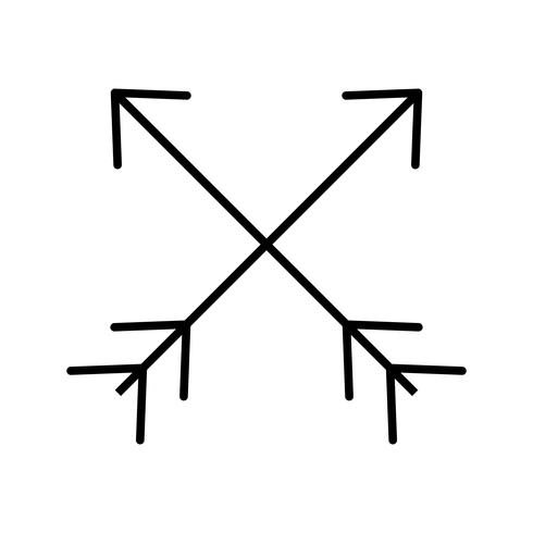 Two Arrows Line Black Icon