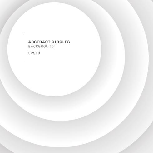 Abstract background elegant white circles overlapping with shadow. vector