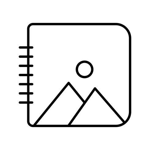Album de fotos línea negra icono vector