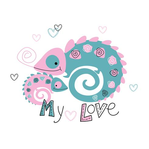 Chameleons. Mom and baby. Motherhood. Tropical. My love. Lettering. Vector