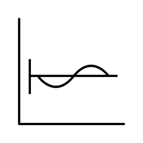 Cosine graph Beautiful line black icon vector