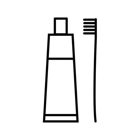 Hermosa línea de cepillo de dientes y pasta de dientes icono negro vector