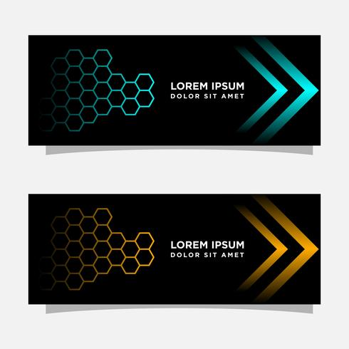 Abstract black banner modern concept design. Glossy gold and blue color vector