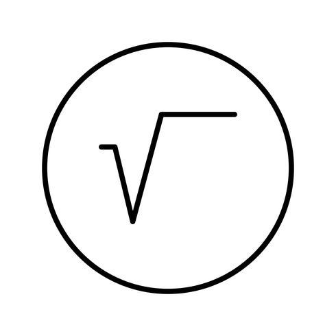 Símbolo de raíz cuadrada Hermosa línea icono negro vector