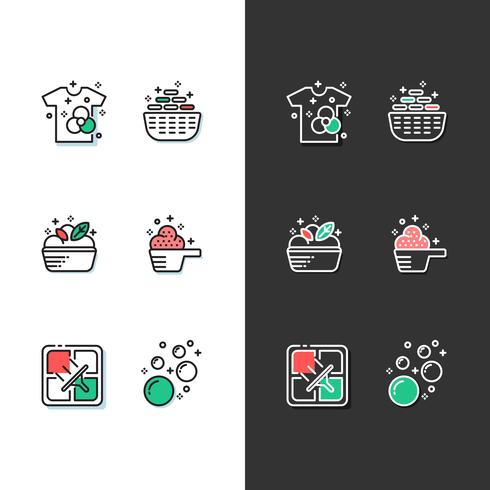 laundry icon set modern