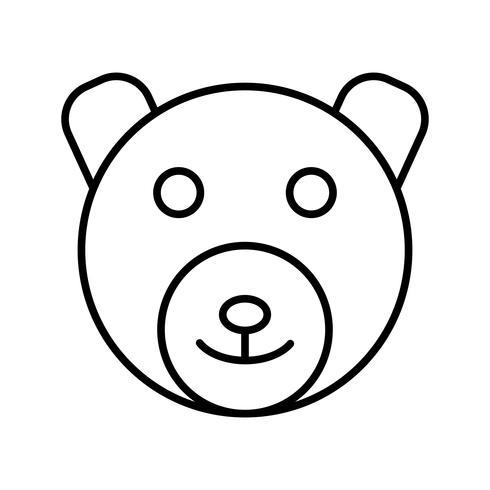 icono de linea de oso negro