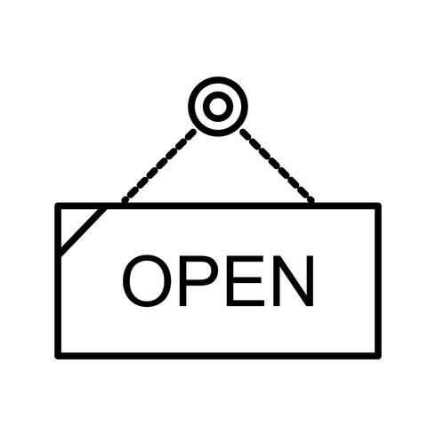 Öppna tagg linje svart ikon