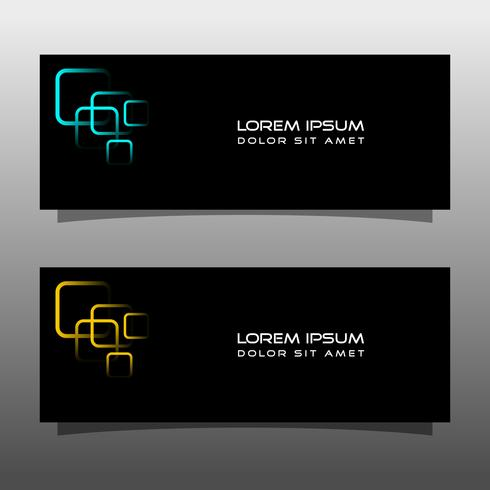 Abstract black banner technology concept design. Glossy gold and blue color vector