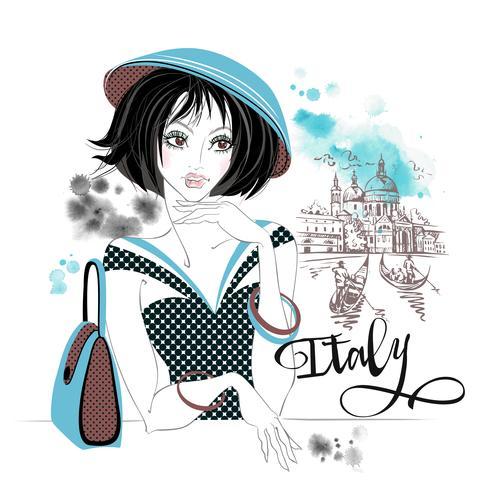 Chica elegante en Italia. Venice.Travel. Vector. Manchas de acuarela vector