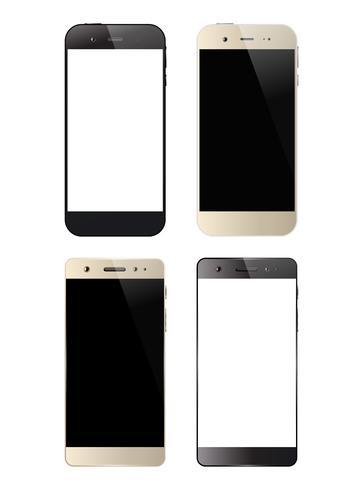 Quatre smartphones noir et blanc vecteur