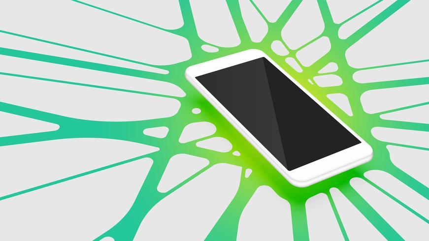 Smartphone 3D realistico con priorità bassa astratta variopinta, illustrazione di vettore