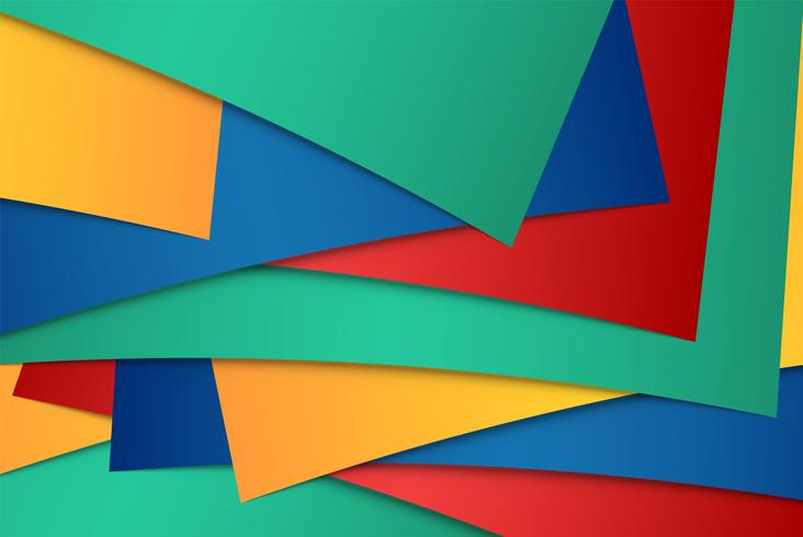 Realistic red, green, blue and yellow sheets of papers vector