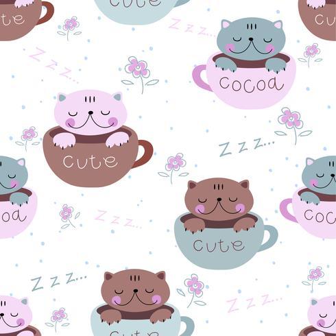 Seamless pattern. Cute kittens sleep sweetly in mugs. Pajama print for children. Vector. vector