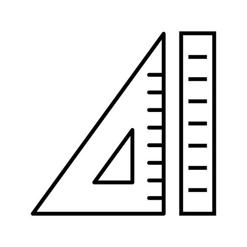 Ruler and set square Beautiful line black icon vector