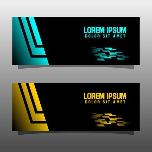 Abstracte zwarte banner technologie conceptontwerp. Glanzende gouden en blauwe kleur