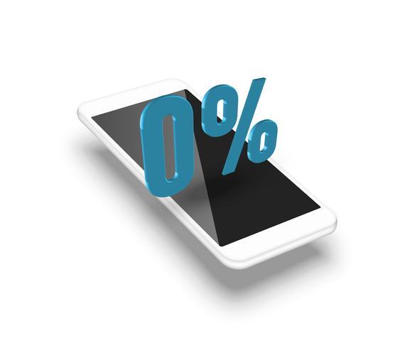 Smartphone realista con un porcentaje 3D, ilustración vectorial