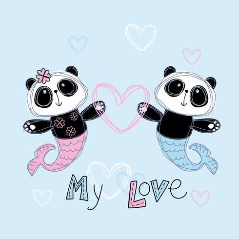 Loving mermaid Panda. Boy and girl. My love. lettering. Vector.