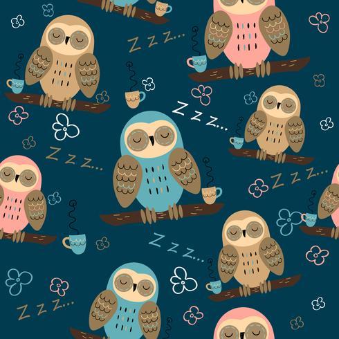 Padrão sem emenda Sonho de corujas. Estilo bonito. Tecido de pijama. Vetor