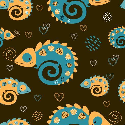 Naadloos patroon. Kameleonen moeder en kind. Moederschap. Tropische print. Leuke stijl. Vector