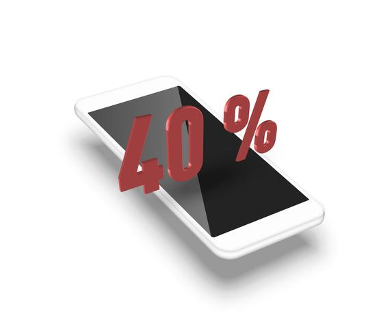Realistic smartphone with a 3D percentage, vector illustration