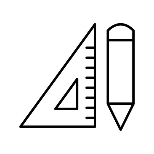 Crayon et set square Icône de belle ligne noire